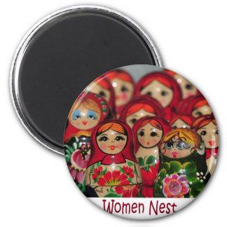 Women Nest, Russian Nesting Dolls Refrigerator Magnet