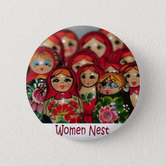 Women Nest, Russian Nesting Dolls Pinback Button