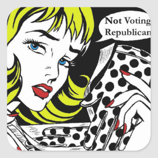 WOMEN NOT VOTING REPUBLICAN SQUARE STICKER