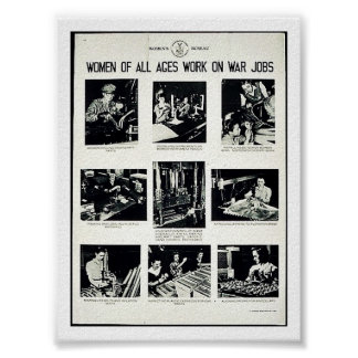 Women Of All Ages Work On War Jobs Poster