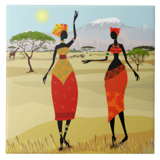Women of Kenya animation Ceramic Tile