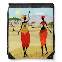 Women of Kenya animation Drawstring Bag