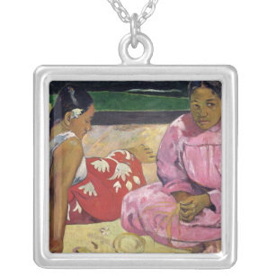 Women of Tahiti, On the Beach, 1891 Silver Plated Necklace