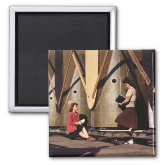 Women of WWII, 1940s 2 Inch Square Magnet