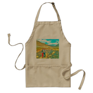 Women on a tocky mountain stream adult apron
