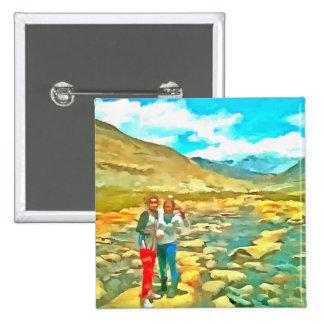Women on a tocky mountain stream button