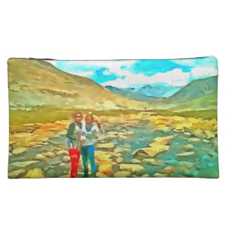 Women on a tocky mountain stream cosmetic bag