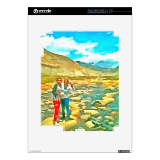 Women on a tocky mountain stream decal for the iPad 2