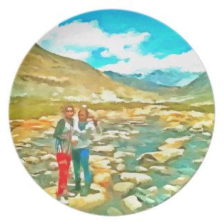 Women on a tocky mountain stream dinner plate