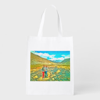 Women on a tocky mountain stream grocery bag