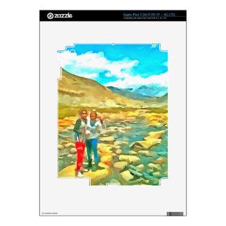 Women on a tocky mountain stream iPad 3 decal