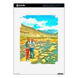 Women on a tocky mountain stream iPad 3 skin