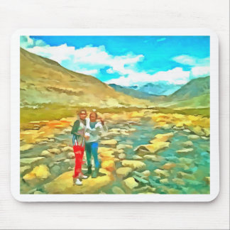 Women on a tocky mountain stream mouse pad