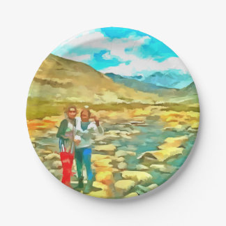 Women on a tocky mountain stream paper plate
