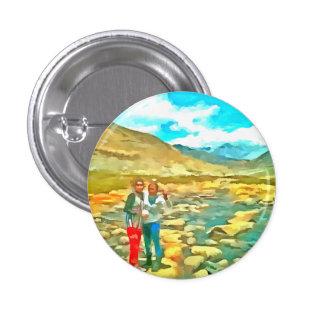 Women on a tocky mountain stream pinback button