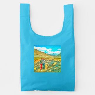 Women on a tocky mountain stream reusable bag