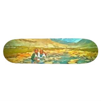 Women on a tocky mountain stream skateboard