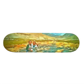 Women on a tocky mountain stream skateboard deck