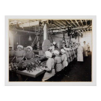 Women Packing Food in Tin Cans - Vintage Print