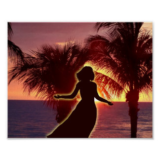Women Praising Lord at Sunset, Christian Art Work Poster