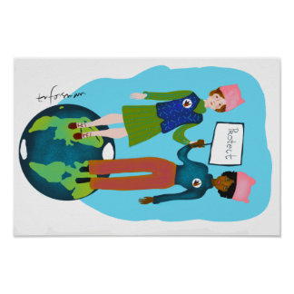 Women prot congrats Earth Poster