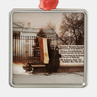 Women Protest at White House Square Metal Christmas Ornament