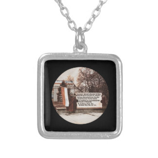 Women Protest Wilson at White House Square Pendant Necklace