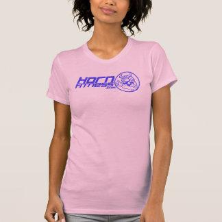 Women Racerback pink tank Blue logo