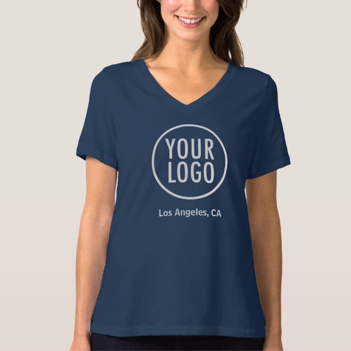 Women relaxed v neck t shirt custom company logo zazzle for Women s company logo shirts