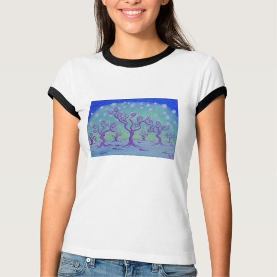 Women Ringer Tee Shirt -Crystal Forest