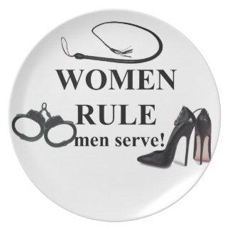 WOMEN RULE MEN SERVE MELAMINE PLATE