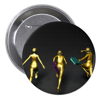 Women Running to a Sale Event Special Pinback Button