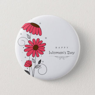 Women's day and drawn of pink flowes  with circles button