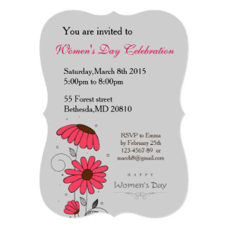Women's day and drawn of pink flowes  with circles card
