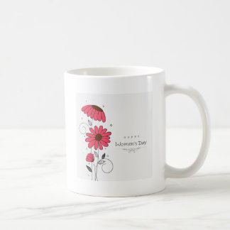 Women's day and drawn of pink flowes  with circles coffee mug