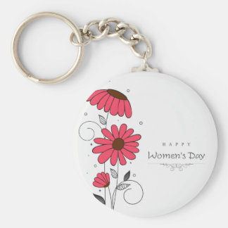 Women's day and drawn of pink flowes  with circles keychain