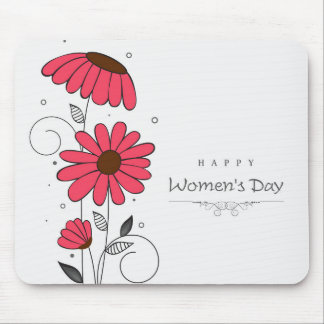 Women's day and drawn of pink flowes  with circles mouse pad