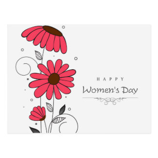 Women's day and drawn of pink flowes  with circles postcard