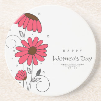 Women's day and drawn of pink flowes  with circles sandstone coaster