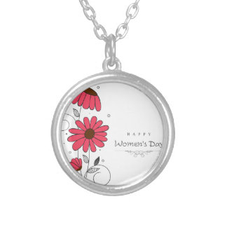 Women's day and drawn of pink flowes  with circles silver plated necklace
