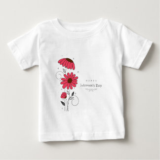 Women's day and drawn of pink flowes  with circles t-shirt