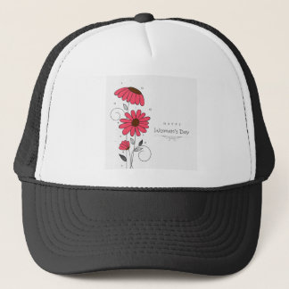 Women's day and drawn of pink flowes  with circles trucker hat