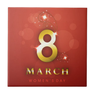 Women's day,golden words  on red bokeh background ceramic tile