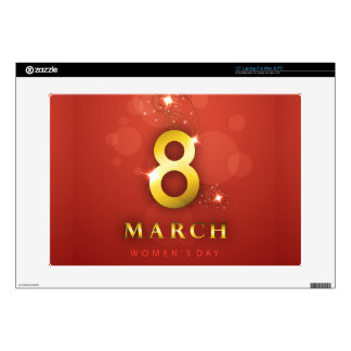 "Women's day,golden words  on red bokeh background decals for 15"" laptops"