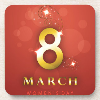Women's day,golden words  on red bokeh background drink coaster