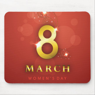 Women's day,golden words  on red bokeh background mouse pad