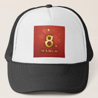 Women's day,golden words  on red bokeh background trucker hat