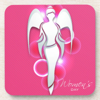 Women's day,white woman angel on pink coaster