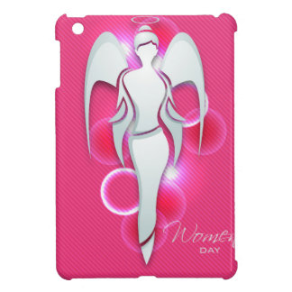 Women's day,white woman angel on pink iPad mini cover