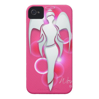 Women's day,white woman angel on pink iPhone 4 Case-Mate case